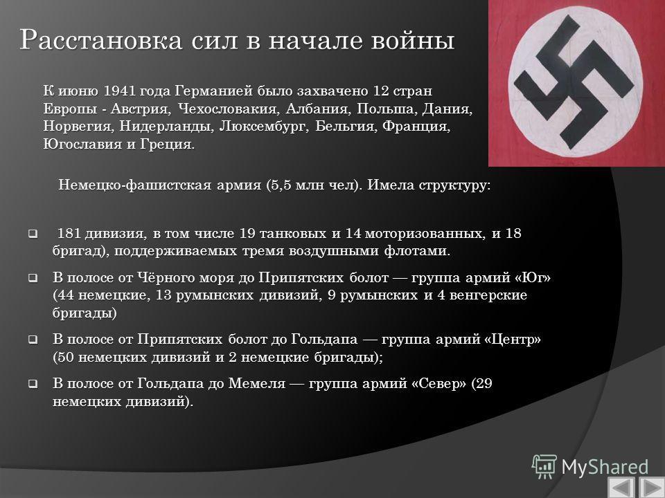 Расстановка сил в начале войны Немецко-фашистская армия (5,5 млн чел). Имела структуру: 181 дивизия, в том числе 19 танковых и 14 моторизованных, и 18 бригад), поддерживаемых тремя воздушными флотами. 181 дивизия, в том числе 19 танковых и 14 моториз