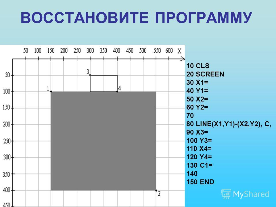 ВОССТАНОВИТЕ ПРОГРАММУ 10 CLS 20 SCREEN 30 X1= 40 Y1= 50 X2= 60 Y2= 70 80 LINE(X1,Y1)-(X2,Y2), C, 90 X3= 100 Y3= 110 X4= 120 Y4= 130 C1= 140 150 END