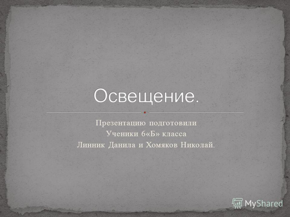 Презентацию подготовили Ученики 6«Б» класса Линник Данила и Хомяков Николай.