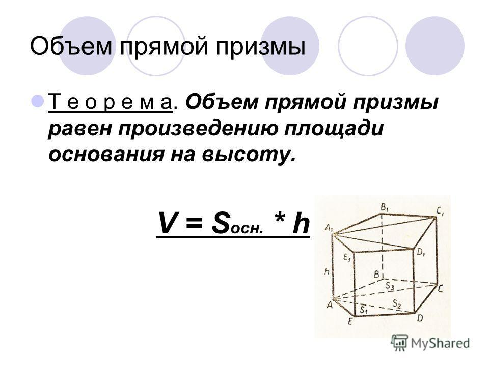 Объем прямой призмы Т е о р е м а. Объем прямой призмы равен произведению площади основания на высоту. V = S осн. * h