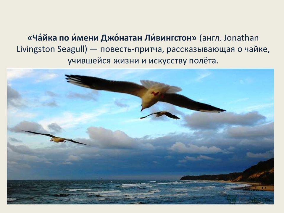 «Ча́йка по и́мени Джо́натан Ли́вингстон» (англ. Jonathan Livingston Seagull) повесть-притча, рассказывающая о чайке, учившейся жизни и искусству полёта.