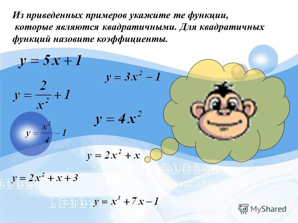 Определение. Квадратичной функцией называется функция, которую можно задать формулой вида у=ах 2 +bx+c, где х – независимая переменная, а, b и с – некоторые числа, причем а 0.