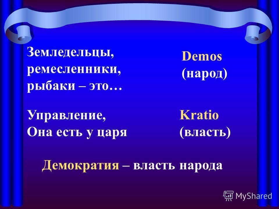Земледельцы, ремесленники, рыбаки – это… Demos (народ) Управление, Она есть у царя Kratio (власть) Демократия – власть народа