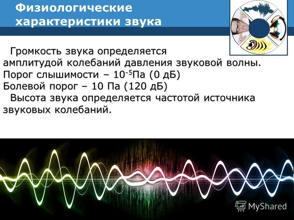 Физиологические характеристики звука Company Logo Громкость звука определяется Громкость звука определяется амплитудой колебаний давления звуковой волны. Порог слышимости – 10 -5 Па (0 дБ) Болевой порог – 10 Па (120 дБ) Высота звука определяется част