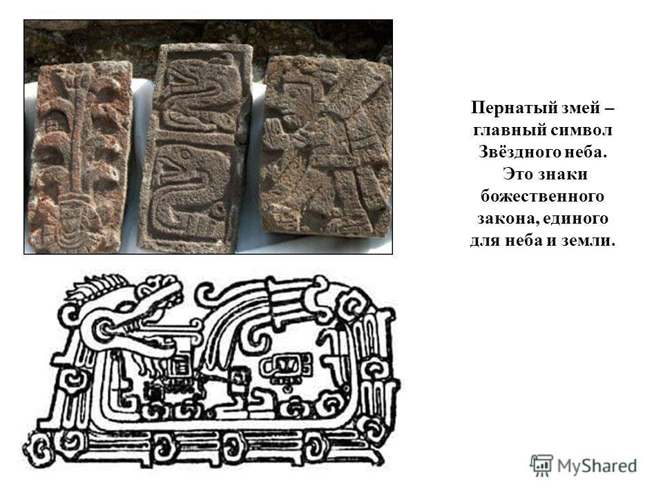 Пернатый змей – главный символ Звёздного неба. Это знаки божественного закона, единого для неба и земли.