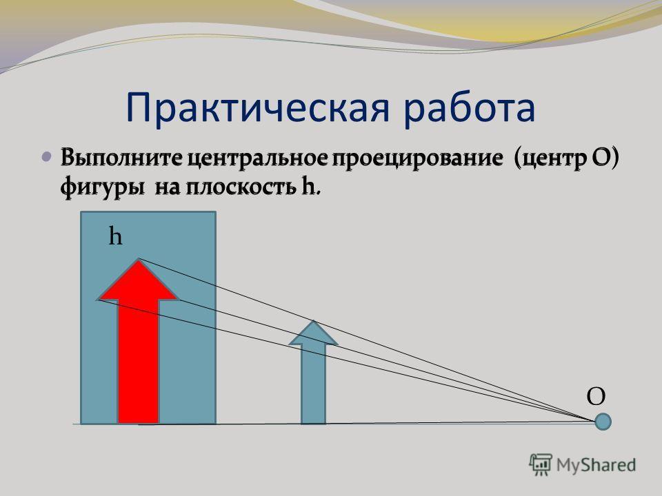 Практическая работа Выполните центральное проецирование (центр О) фигуры на плоскость h. О h