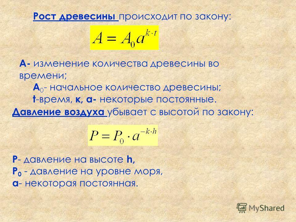 Рост древесины происходит по закону: A- изменение количества древесины во времени; A 0 - начальное количество древесины; t -время, к, а- некоторые постоянные. Давление воздуха убывает с высотой по закону: P - давление на высоте h, P 0 - давление на у