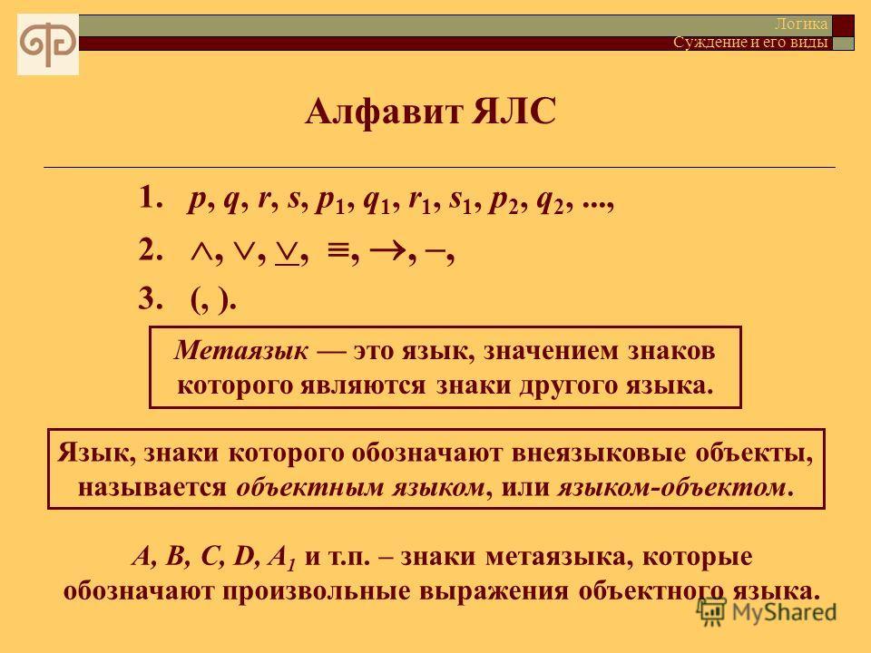 Алфавит ЯЛС Логика Суждение и его виды 1.p, q, r, s, p 1, q 1, r 1, s 1, p 2, q 2,..., 2.,,,,, –, 3.(, ). Метаязык это язык, значением знаков которого являются знаки другого языка. Язык, знаки которого обозначают внеязыковые объекты, называется объек
