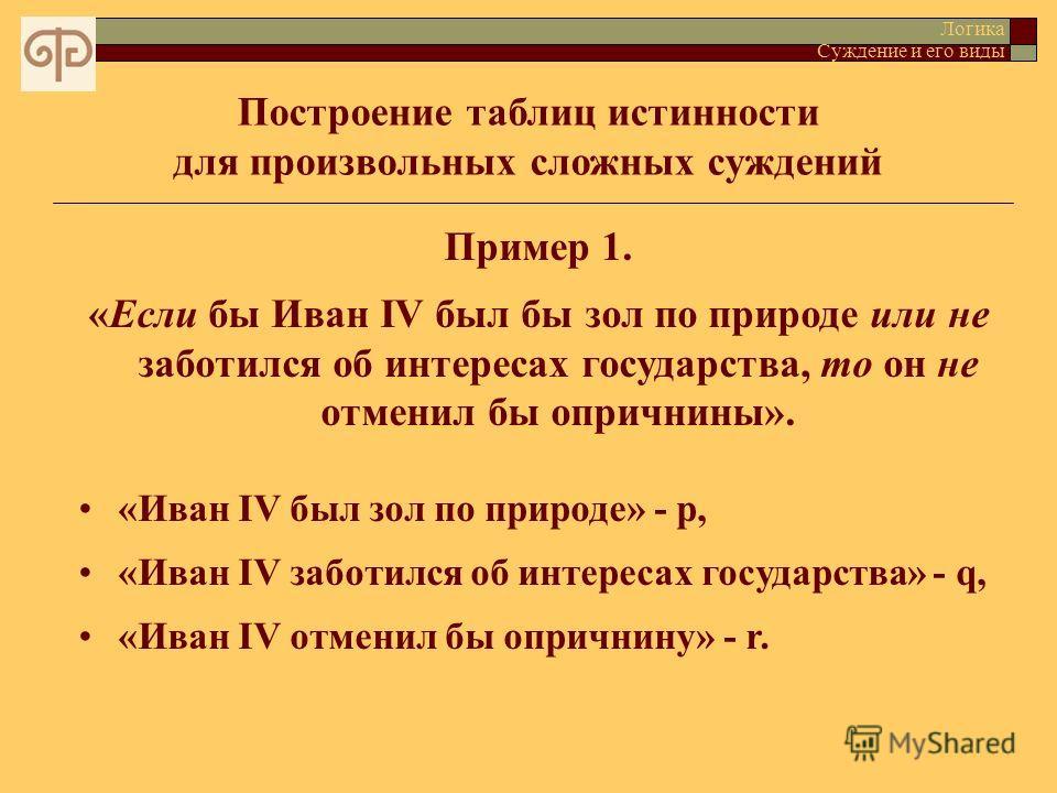 Построение таблиц истинности для произвольных сложных суждений Логика Суждение и его виды Пример 1. «Если бы Иван IV был бы зол по природе или не заботился об интересах государства, то он не отменил бы опричнины». «Иван IV был зол по природе» - p, «И