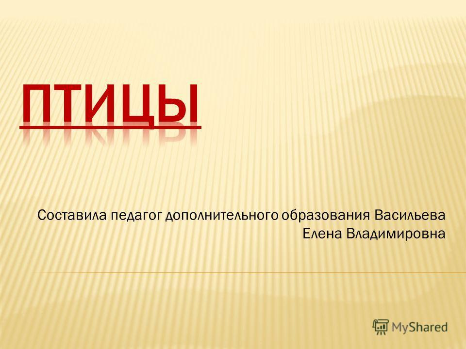 Составила педагог дополнительного образования Васильева Елена Владимировна