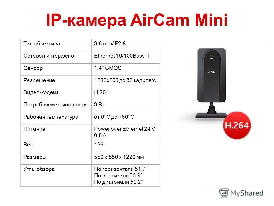 IP-камера AirCam Mini Тип объектива 3,6 mm/ F2,8 Сетевой интерфейсEthernet 10/100Base-T Сенсор 1/4 CMOS Разрешение 1280x800 до 30 кадров/с Видео-кодекиH.264 Потребляемая мощность 3 Вт Рабочая температура от 0°C до +60°C ПитаниеPower over Ethernet 24