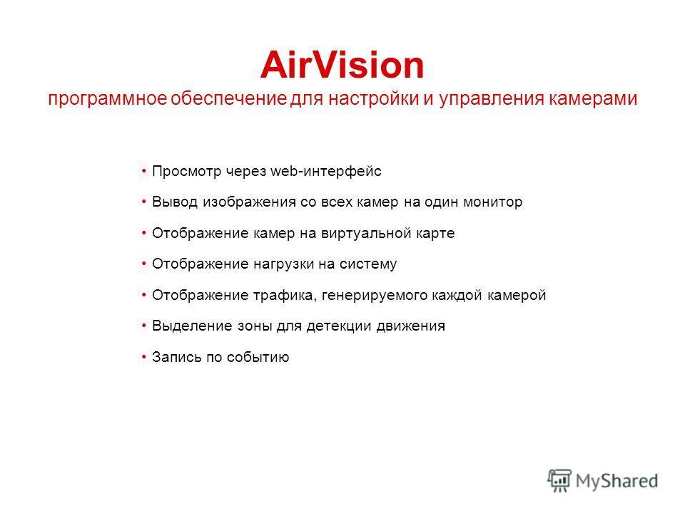 AirVision программное обеспечение для настройки и управления камерами Просмотр через web-интерфейс Вывод изображения со всех камер на один монитор Отображение камер на виртуальной карте Отображение нагрузки на систему Отображение трафика, генерируемо