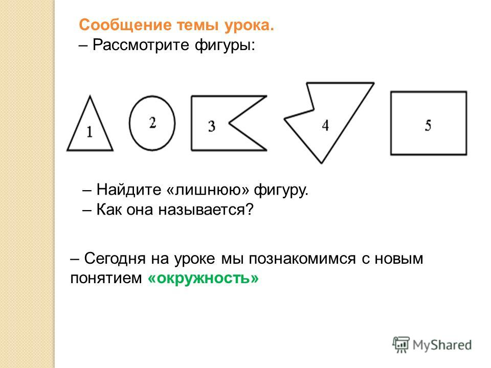 Сообщение темы урока. – Рассмотрите фигуры: – Найдите «лишнюю» фигуру. – Как она называется? – Сегодня на уроке мы познакомимся с новым понятием «окружность»