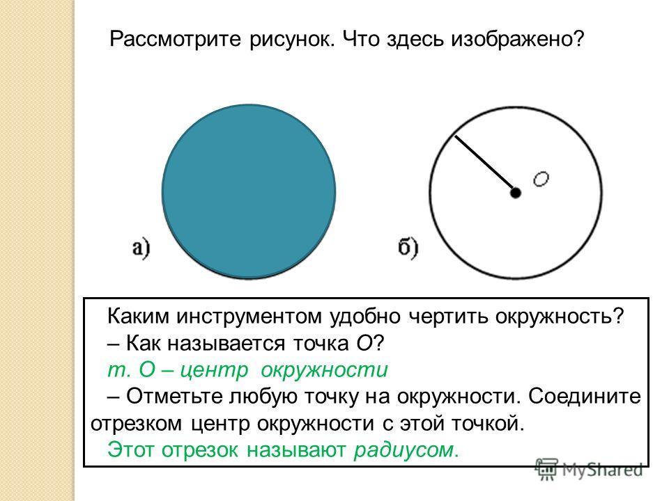 Рассмотрите рисунок. Что здесь изображено? Каким инструментом удобно чертить окружность? – Как называется точка О? т. О – центр окружности – Отметьте любую точку на окружности. Соедините отрезком центр окружности с этой точкой. Этот отрезок называют