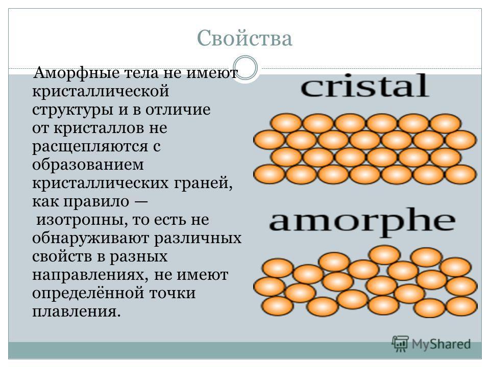 Свойства Аморфные тела не имеют кристаллической структуры и в отличие от кристаллов не расщепляются с образованием кристаллических граней, как правило изотропны, то есть не обнаруживают различных свойств в разных направлениях, не имеют определённой т