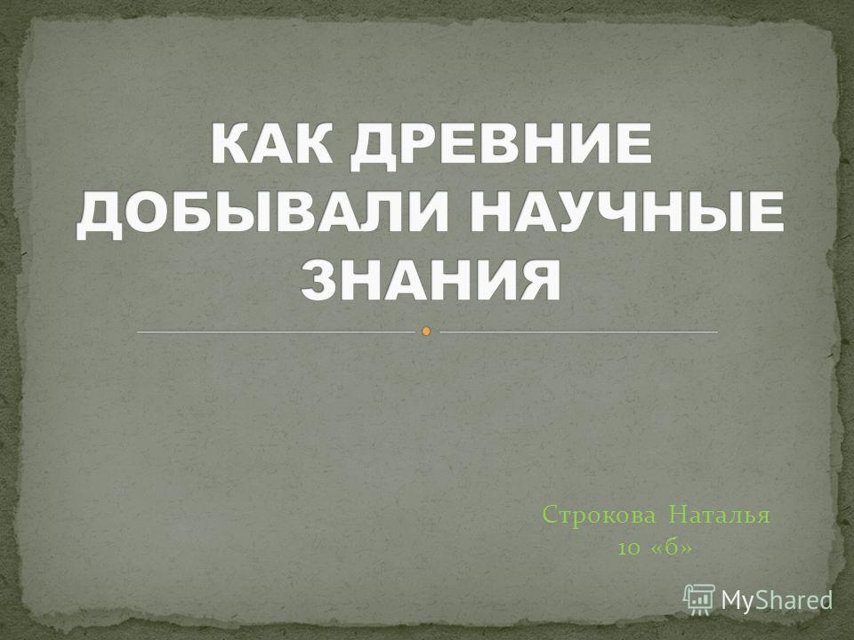 Строкова Наталья 10 «б»