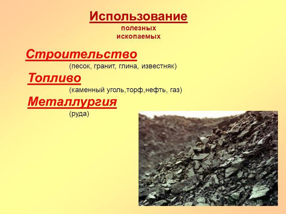 Использование полезных ископаемых Строительство (песок, гранит, глина, известняк) Топливо (каменный уголь,торф,нефть, газ) Металлургия (руда)