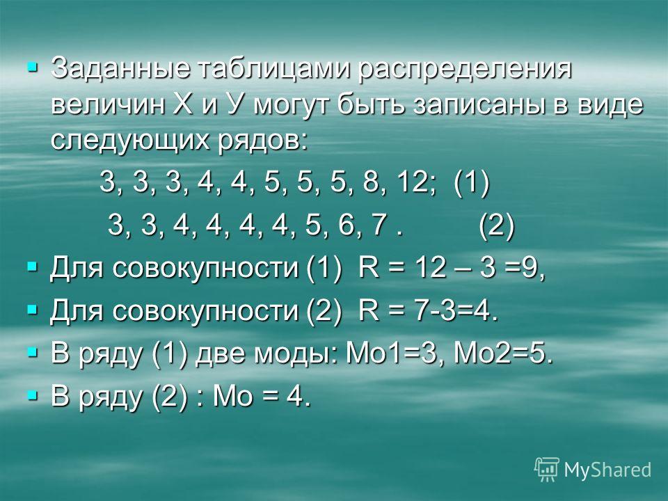Заданные таблицами распределения величин Х и У могут быть записаны в виде следующих рядов: Заданные таблицами распределения величин Х и У могут быть записаны в виде следующих рядов: 3, 3, 3, 4, 4, 5, 5, 5, 8, 12; (1) 3, 3, 3, 4, 4, 5, 5, 5, 8, 12; (1