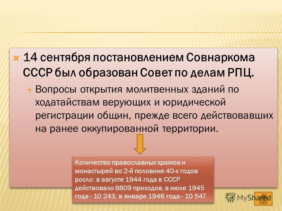 14 сентября постановлением Совнаркома СССР был образован Совет по делам РПЦ. Вопросы открытия молитвенных зданий по ходатайствам верующих и юридической регистрации общин, прежде всего действовавших на ранее оккупированной территории. 14 сентября пост