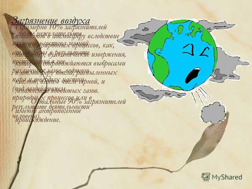 Загрязнение воздуха - любое нежелательное изменение состава земной атмосферы в результате поступления в нее различных газов, водяного пара и твердых частиц (под воздействием природных процессов или в результате деятельности человека). Примерно 10% за