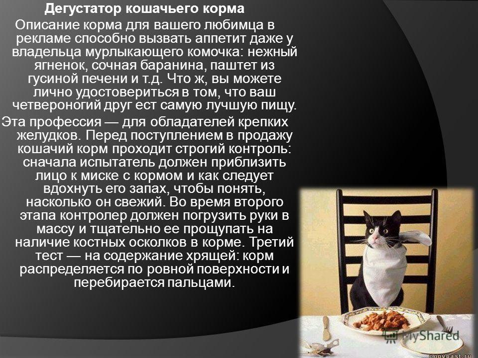 Дегустатор кошачьего корма Описание корма для вашего любимца в рекламе способно вызвать аппетит даже у владельца мурлыкающего комочка: нежный ягненок, сочная баранина, паштет из гусиной печени и т.д. Что ж, вы можете лично удостовериться в том, что в
