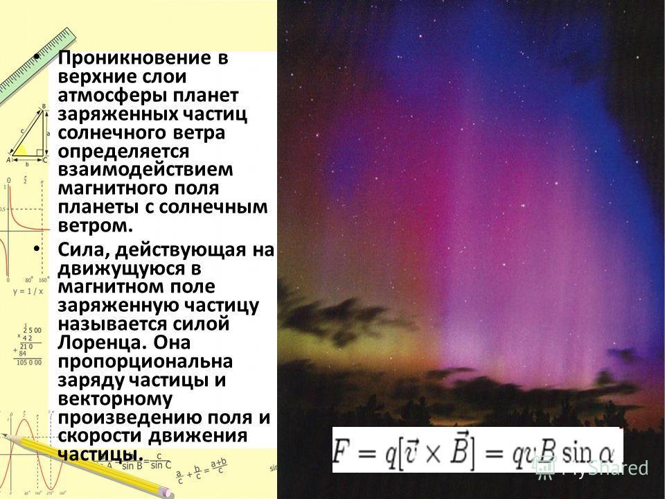 Проникновение в верхние слои атмосферы планет заряженных частиц солнечного ветра определяется взаимодействием магнитного поля планеты с солнечным ветром. Сила, действующая на движущуюся в магнитном поле заряженную частицу называется силой Лоренца. Он