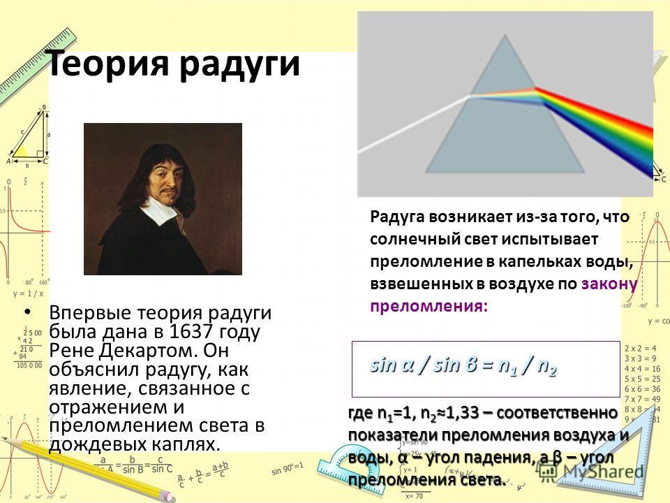 Теория радуги Впервые теория радуги была дана в 1637 году Рене Декартом. Он объяснил радугу, как явление, связанное с отражением и преломлением света в дождевых каплях. Радуга возникает из-за того, что солнечный свет испытывает преломление в капелька