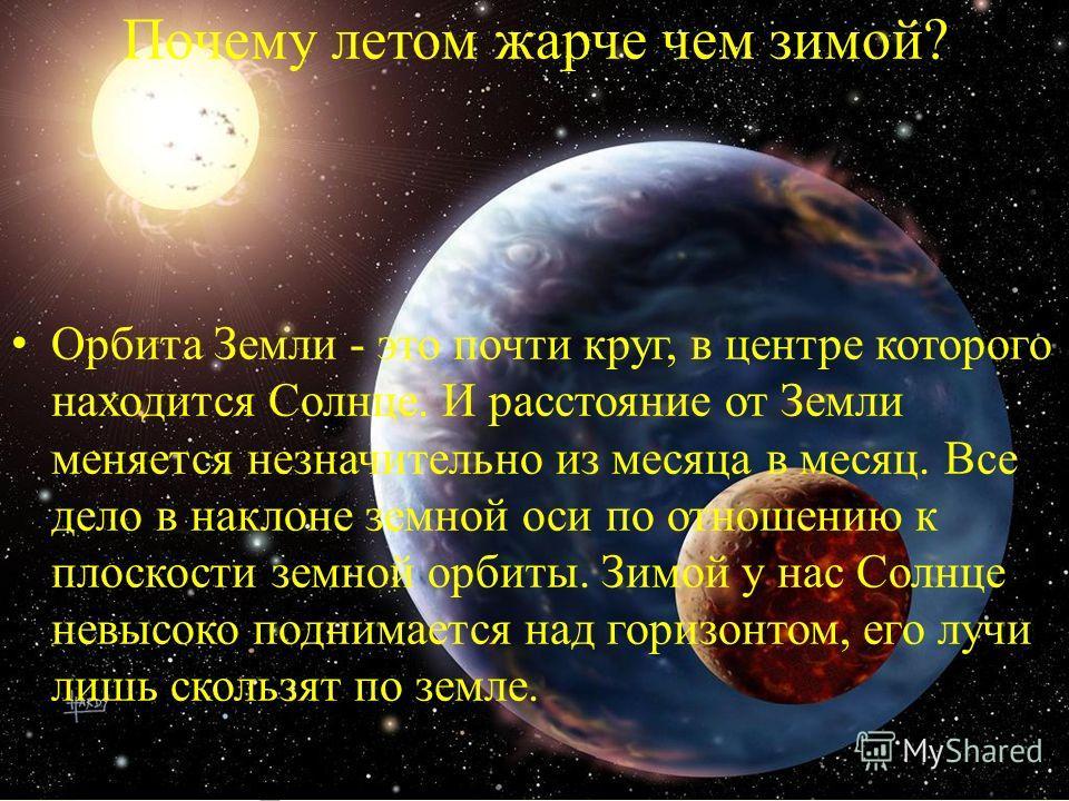 Почему летом жарче чем зимой? Орбита Земли - это почти круг, в центре которого находится Солнце. И расстояние от Земли меняется незначительно из месяца в месяц. Все дело в наклоне земной оси по отношению к плоскости земной орбиты. Зимой у нас Солнце