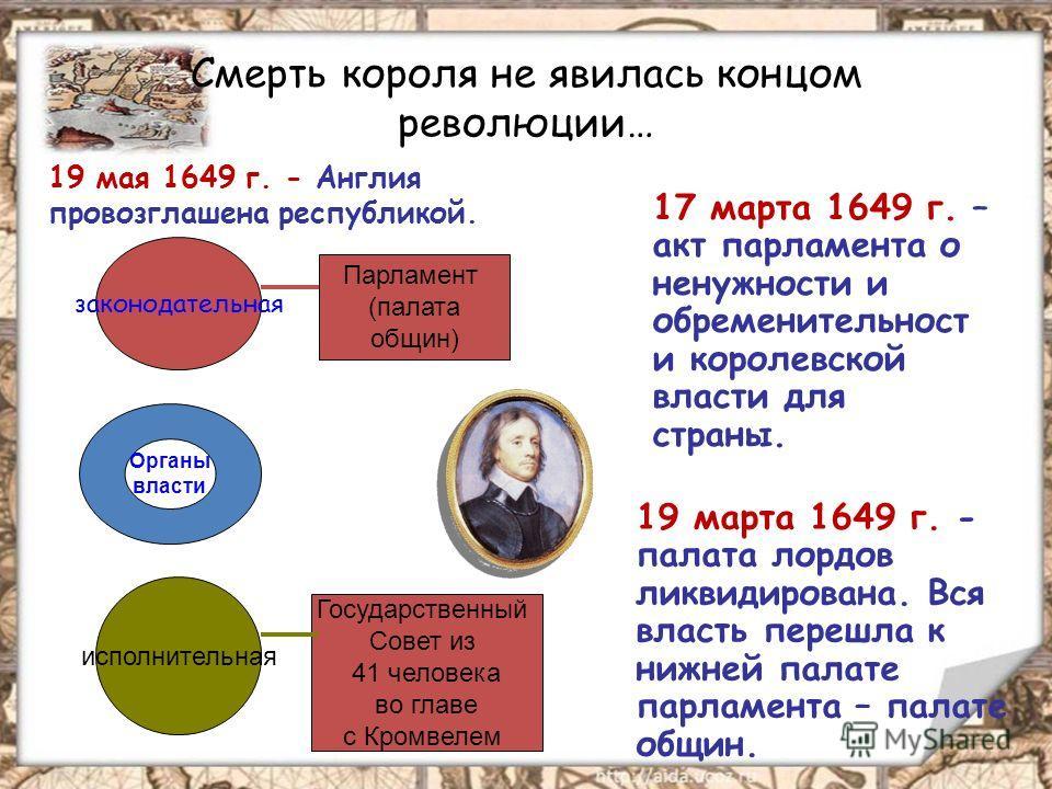 Смерть короля не явилась концом революции… 19 мая 1649 г. - Англия провозглашена республикой. 17 марта 1649 г. – акт парламента о ненужности и обременительность и королевской власти для страны. 19 марта 1649 г. - палата лордов ликвидирована. Вся влас