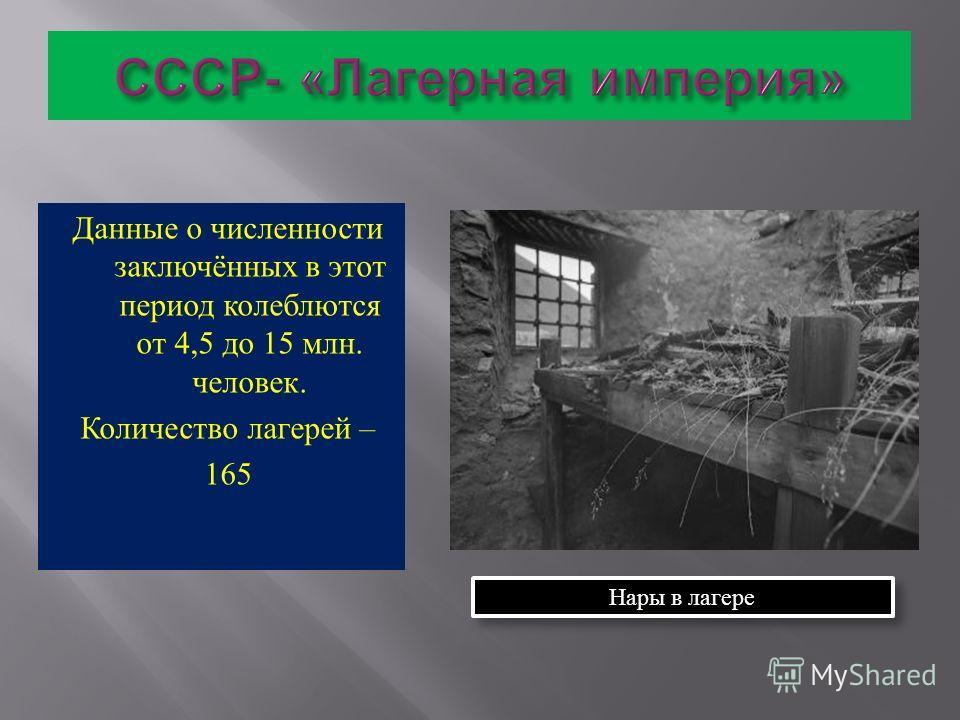 Данные о численности заключённых в этот период колеблются от 4,5 до 15 млн. человек. Количество лагерей – 165 Нары в лагере