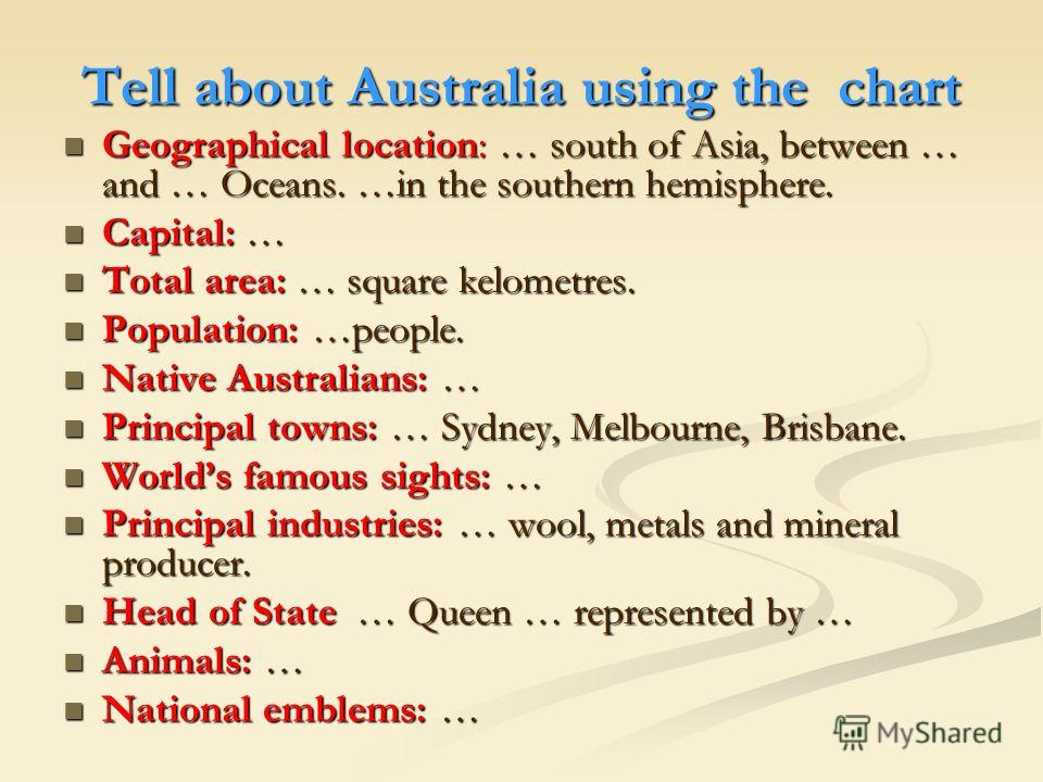 Tell about Australia using the chart Geographical location: … south of Asia, between … and … Oceans. …in the southern hemisphere. Geographical location: … south of Asia, between … and … Oceans. …in the southern hemisphere. Capital: … Capital: … Total