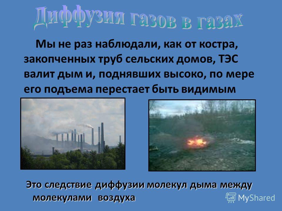 Мы не раз наблюдали, как от костра, закопченных труб сельских домов, ТЭС валит дым и, поднявших высоко, по мере его подъема перестает быть видимым Это следствие диффузии молекул дыма между молекулами воздуха