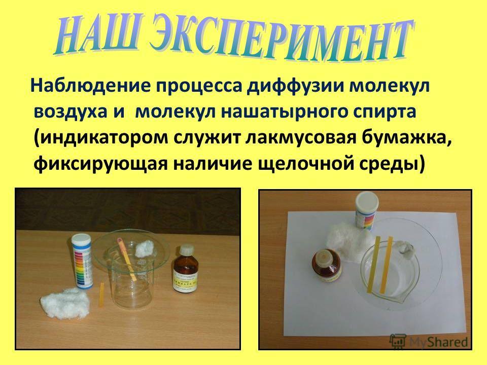 Наблюдение процесса диффузии молекул воздуха и молекул нашатырного спирта (индикатором служит лакмусовая бумажка, фиксирующая наличие щелочной среды)