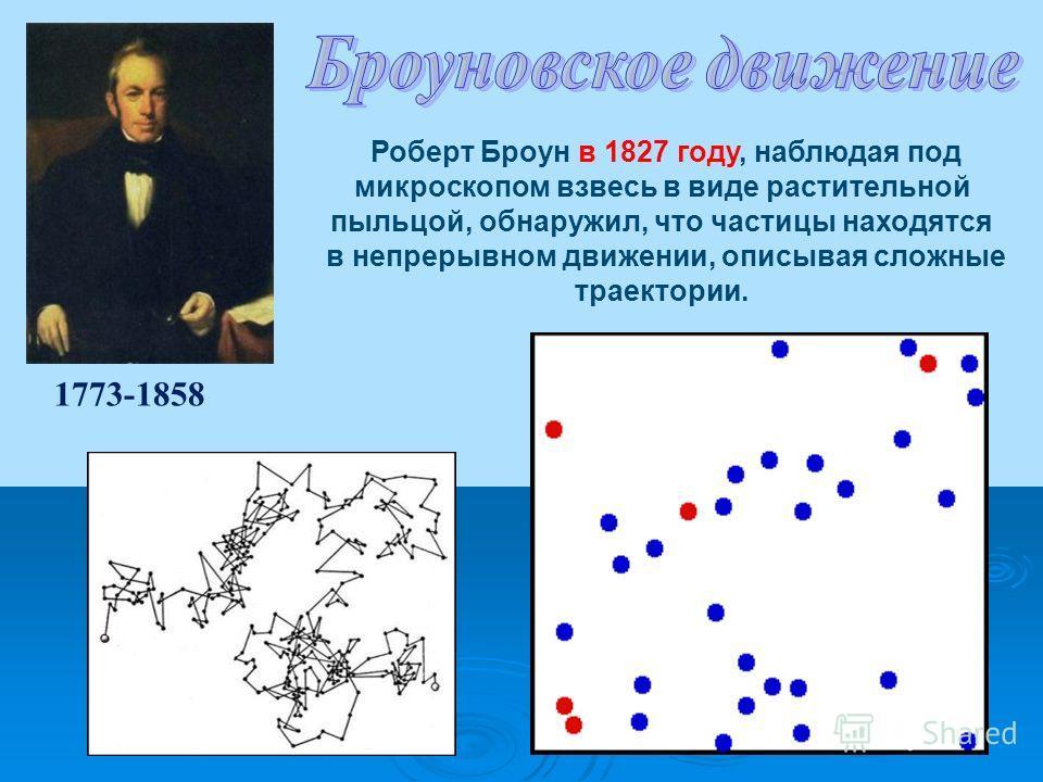 1773-1858 Роберт Броун в 1827 году, наблюдая под микроскопом взвесь в виде растительной пыльцой, обнаружил, что частицы находятся в непрерывном движении, описывая сложные траектории.