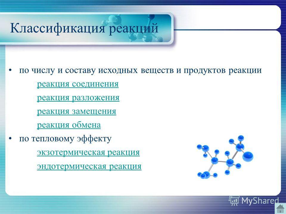 Классификация реакций по числу и составу исходных веществ и продуктов реакции реакция соединения реакция разложения реакция замещения реакция обмена по тепловому эффекту экзотермическая реакция эндотермическая реакция