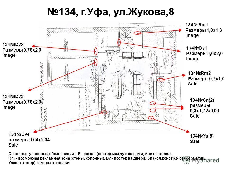 Основные условные обозначения: F - фокал (постер между шкафами, или на стене), Rm - возможная рекламная зона (стены, колонны), Dv - постер на двери, Sn (кол.констр.)- сенсорматик, Ya(кол. камер)-камеры хранения 134Ya(8) Sale 134Sn(2) размеры 0,3 х 1,