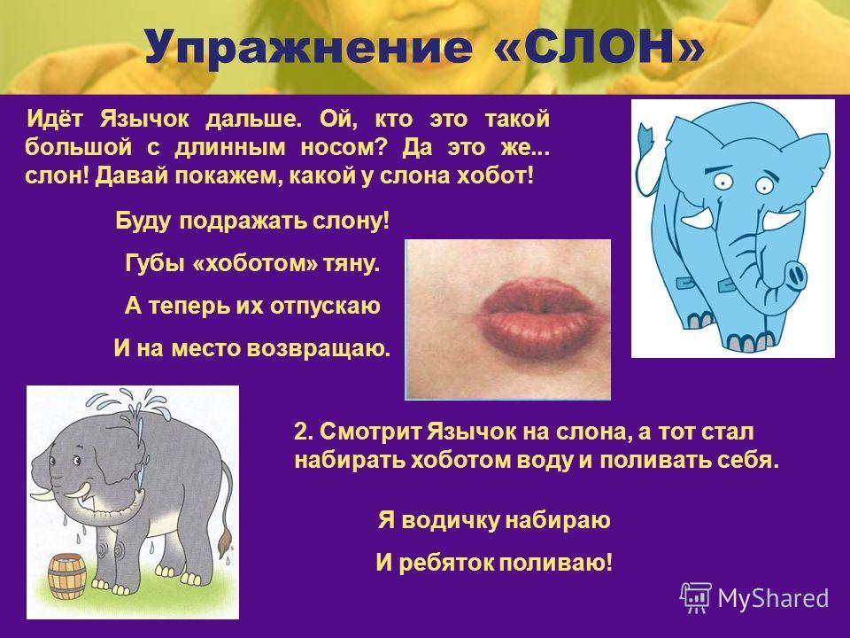 Упражнение «СЛОН» Идёт Язычок дальше. Ой, кто это такой большой с длинным носом? Да это же... слон! Давай покажем, какой у слона хобот! Буду подражать слону! Губы «хоботом» тяну. А теперь их отпускаю И на место возвращаю. 2. Смотрит Язычок на слона,