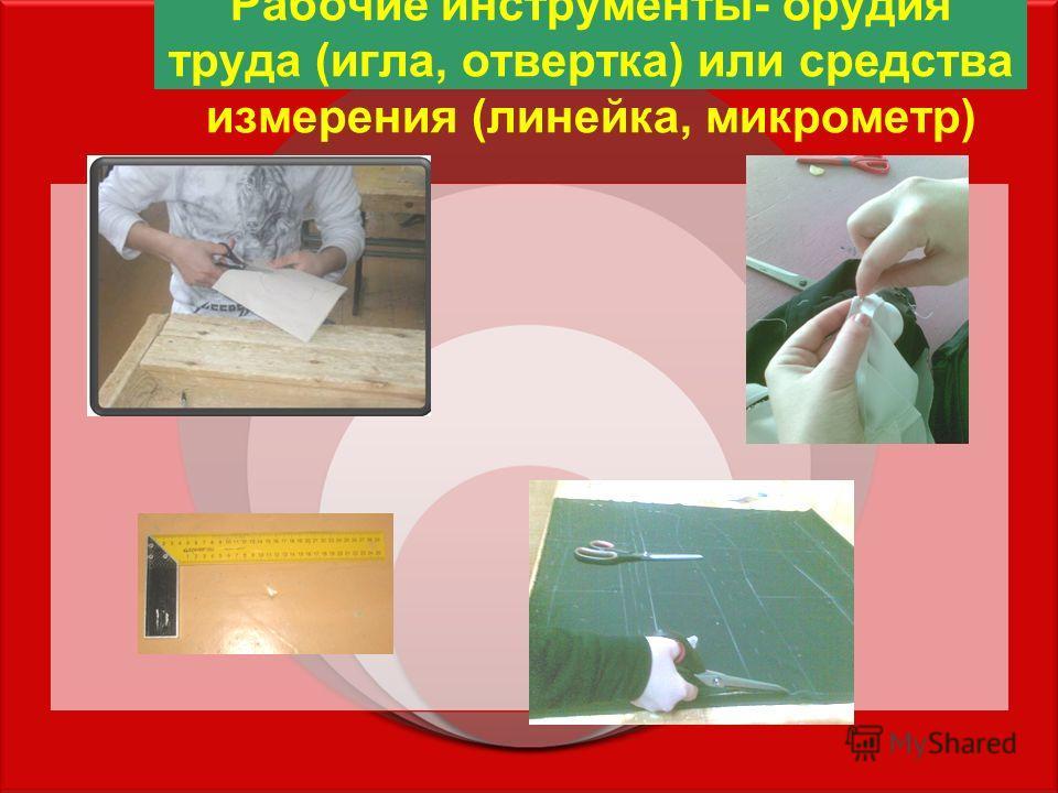 Рабочие инструменты- орудия труда (игла, отвертка) или средства измерения (линейка, микрометр)