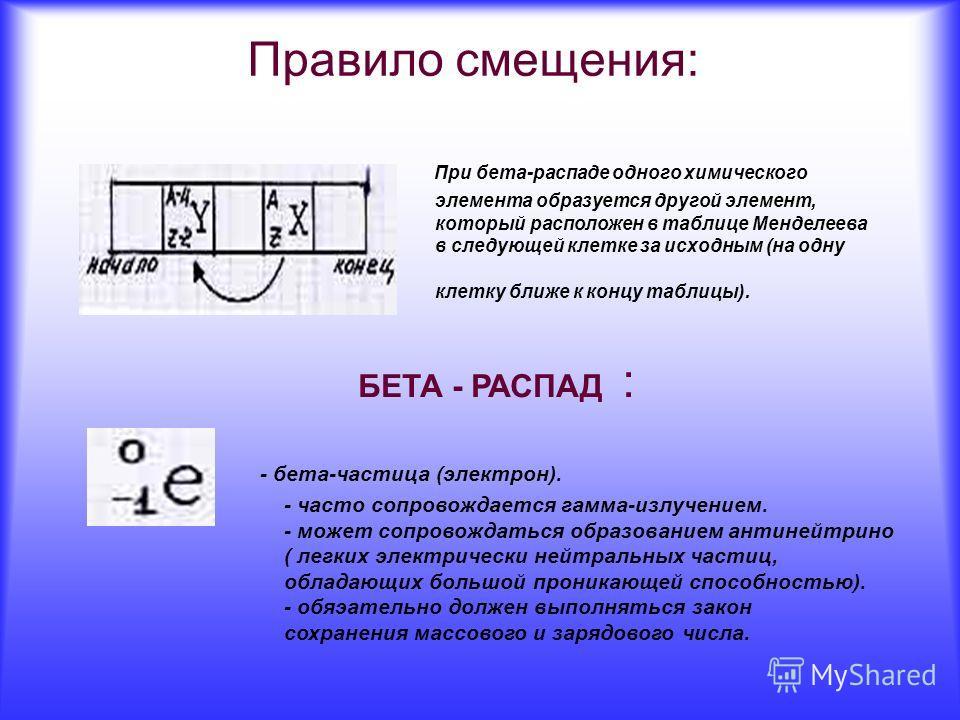 Правило смещения: При бета-распаде одного химического элемента образуется другой элемент, который расположен в таблице Менделеева в следующей клетке за исходным (на одну клетку ближе к концу таблицы). БЕТА - РАСПАД : - бета-частица (электрон). - част