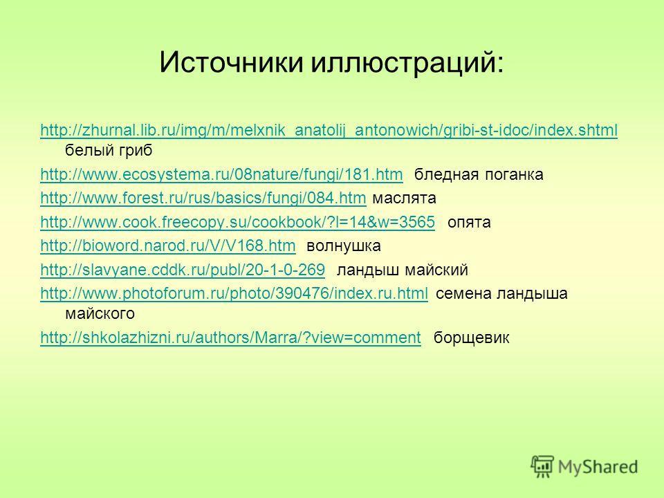 Источники иллюстраций: http://zhurnal.lib.ru/img/m/melxnik_anatolij_antonowich/gribi-st-idoc/index.shtml http://zhurnal.lib.ru/img/m/melxnik_anatolij_antonowich/gribi-st-idoc/index.shtml белый гриб http://www.ecosystema.ru/08nature/fungi/181.htmhttp: