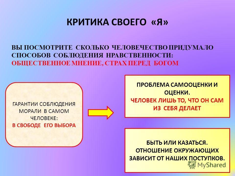 КРИТИКА СВОЕГО «Я» ВЫ ПОСМОТРИТЕ СКОЛЬКО ЧЕЛОВЕЧЕСТВО ПРИДУМАЛО СПОСОБОВ СОБЛЮДЕНИЯ НРАВСТВЕННОСТИ: ОБЩЕСТВЕННОЕ МНЕНИЕ, СТРАХ ПЕРЕД БОГОМ ГАРАНТИИ СОБЛЮДЕНИЯ МОРАЛИ В САМОМ ЧЕЛОВЕКЕ: В СВОБОДЕ ЕГО ВЫБОРА ПРОБЛЕМА САМООЦЕНКИ И ОЦЕНКИ. ЧЕЛОВЕК ЛИШЬ ТО