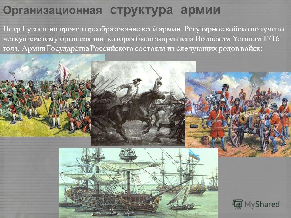 Организационная структура армии Петр I успешно провел преобразование всей армии. Регулярное войско получило четкую систему организации, которая была закреплена Воинским Уставом 1716 года. Армия Государства Российского состояла из следующих родов войс