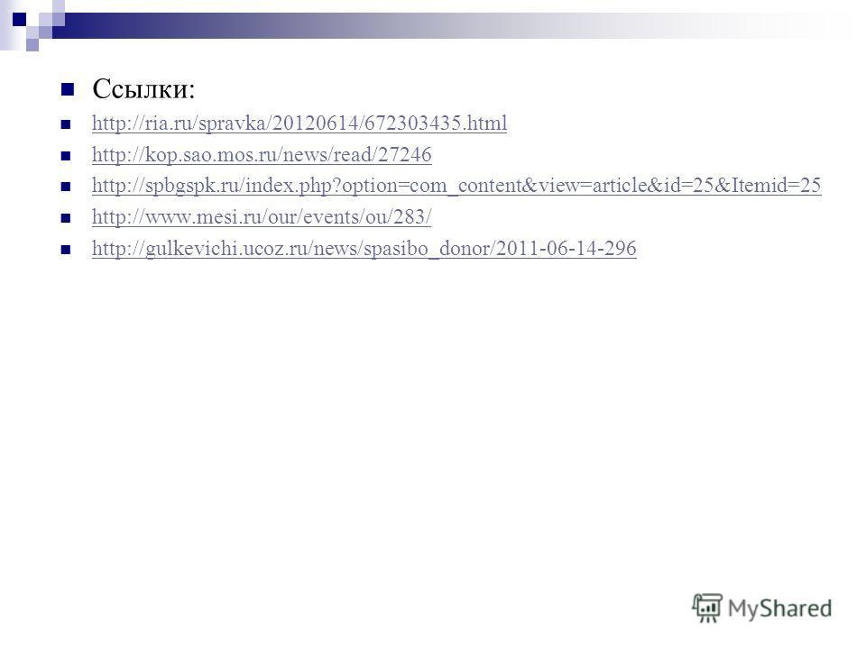 Ссылки: http://ria.ru/spravka/20120614/672303435. html http://kop.sao.mos.ru/news/read/27246 http://spbgspk.ru/index.php?option=com_content&view=article&id=25&Itemid=25 http://www.mesi.ru/our/events/ou/283/ http://gulkevichi.ucoz.ru/news/spasibo_dono