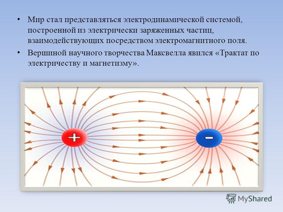 Мир стал представляться электродинамической системой, построенной из электрически заряженных частиц, взаимодействующих посредством электромагнитного поля. Вершиной научного творчества Максвелла явился «Трактат по электричеству и магнетизму».