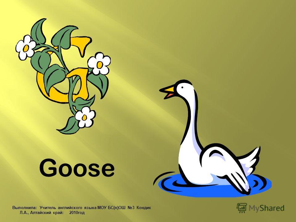 Goose Выполнила: Учитель английского языка МОУ БС(п)ОШ 3 Кондик Л.А., Алтайский край: 2010 год