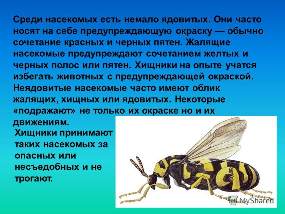 Среди насекомых есть немало ядовитых. Они часто носят на себе предупреждающую окраску обычно сочетание красных и черных пятен. Жалящие насекомые предупреждают сочетанием желтых и черных полос или пятен. Хищники на опыте учатся избегать животных с пре