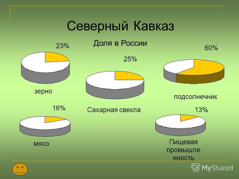 Северный Кавказ Доля в России зерно подсолнечник Сахарная свекла 23% 25% 60% 16% мясо 13% Пищевая промышле нность