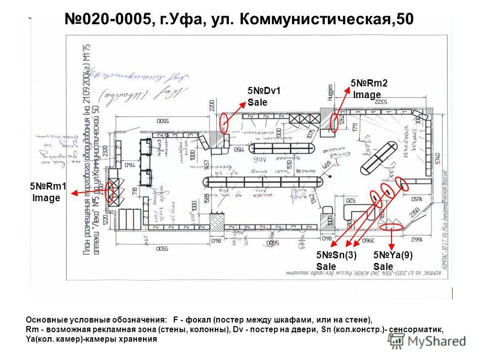 5Rm1 Image 5Dv1 Sale 5Sn(3) Sale 020-0005, г.Уфа, ул. Коммунистическая,50 5Rm2 Image 5Ya(9) Sale Основные условные обозначения: F - фокал (постер между шкафами, или на стене), Rm - возможная рекламная зона (стены, колонны), Dv - постер на двери, Sn (