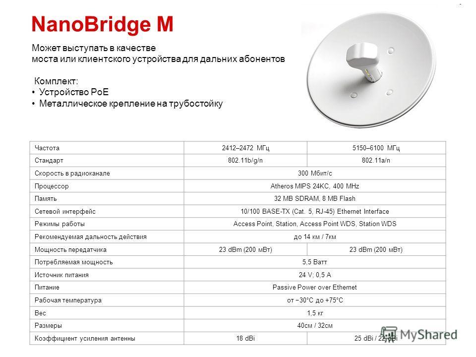 NanoBridge M Частота 2412–2472 МГц 5150–6100 МГц Стандарт 802.11b/g/n802.11a/n Скорость в радиоканале 300 Мбит/с ПроцессорAtheros MIPS 24KC, 400 MHz Память 32 MB SDRAM, 8 MB Flash Сетевой интерфейс 10/100 BASE-TX (Cat. 5, RJ-45) Ethernet Interface Ре