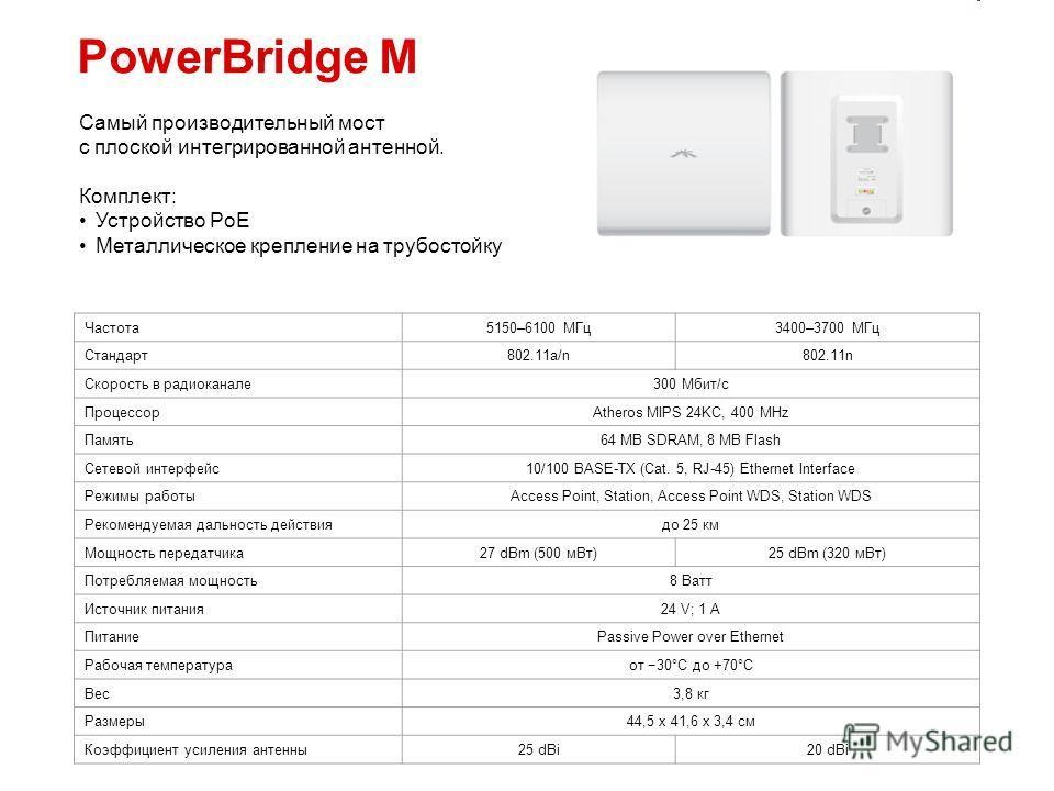PowerBridge M Самый производительный мост с плоской интегрированной антенной. Комплект: Устройство PoE Металлическое крепление на трубостойку Частота 5150–6100 МГц 3400–3700 МГц Стандарт 802.11a/n802.11n Скорость в радиоканале 300 Мбит/с ПроцессорAth